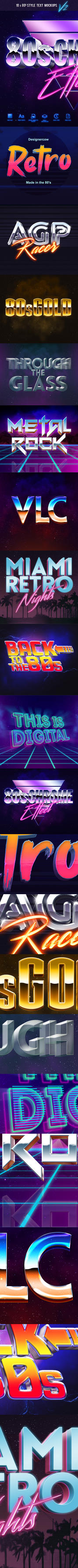 80's Style Text Mockups V2 by GraphicAssets