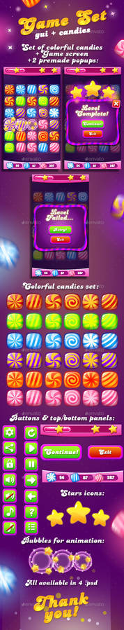 Candy Game Set for match3 + UI