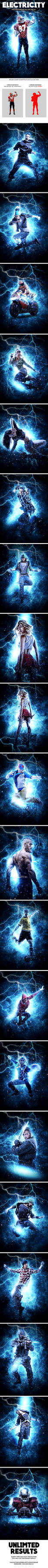 Electricity Photoshop Action by GraphicAssets