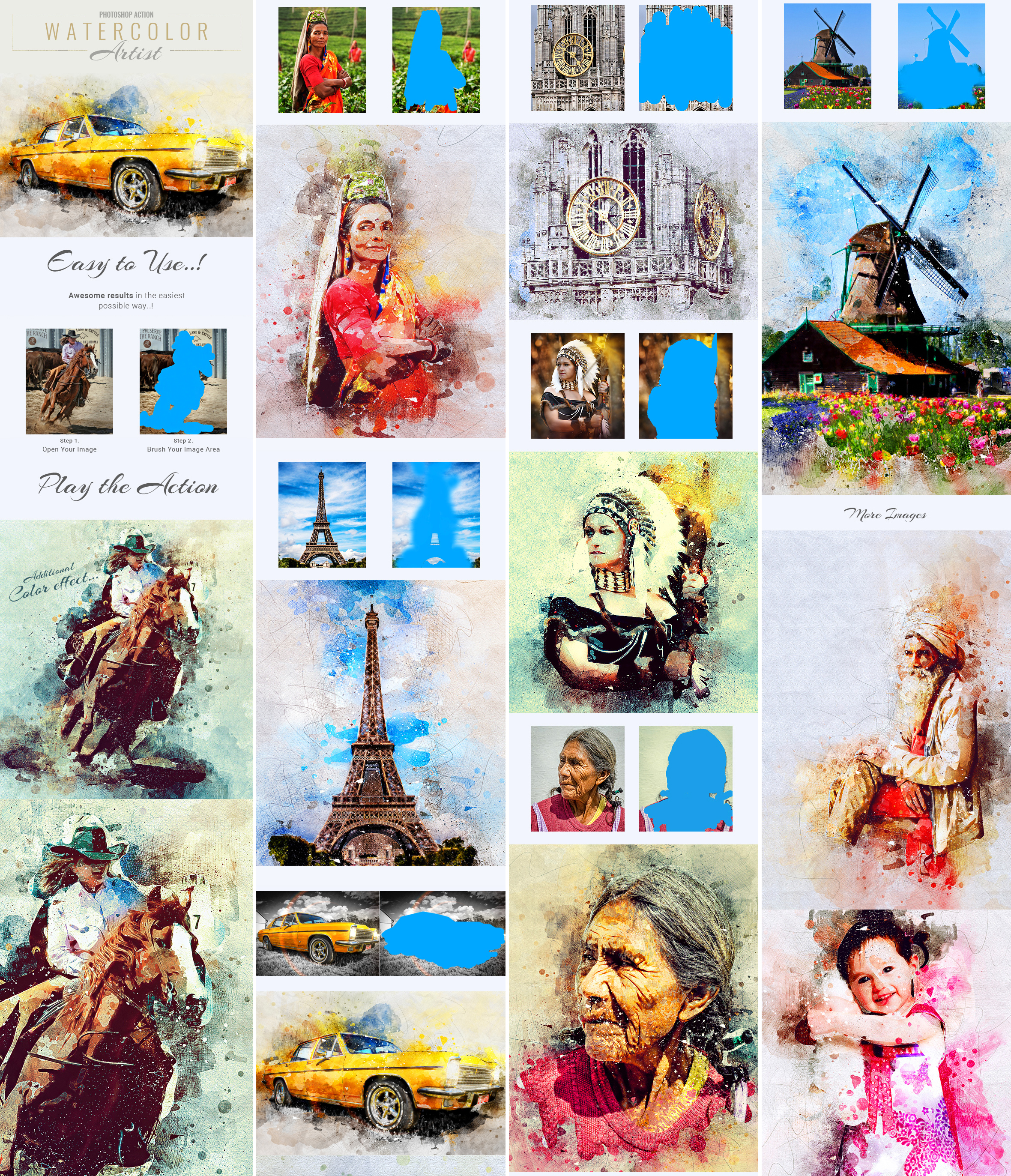 Watercolor Artist Photoshop Action by GraphicAssets on