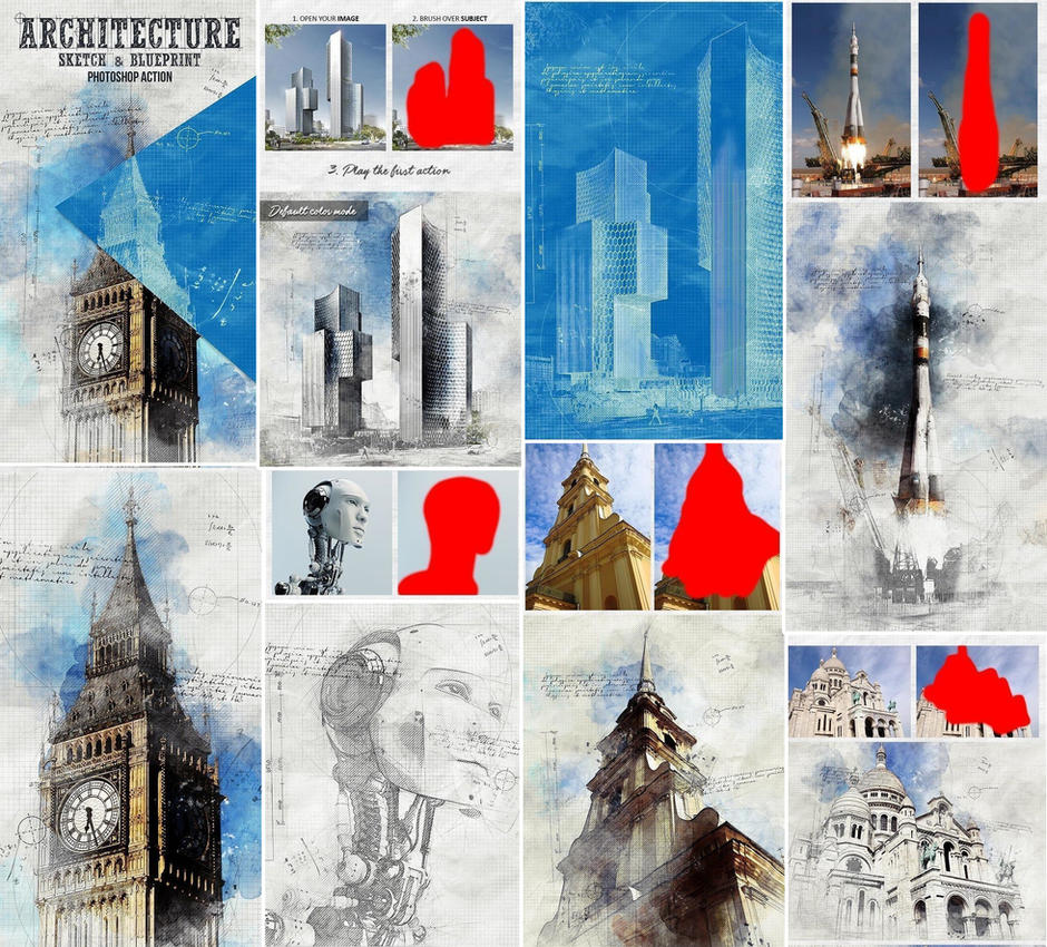 Architecture sketch and blueprint photoshop action by graphicassets malvernweather Choice Image