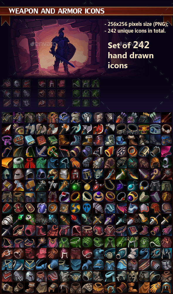 Weapon and Armor Icon Pack by GraphicAssets