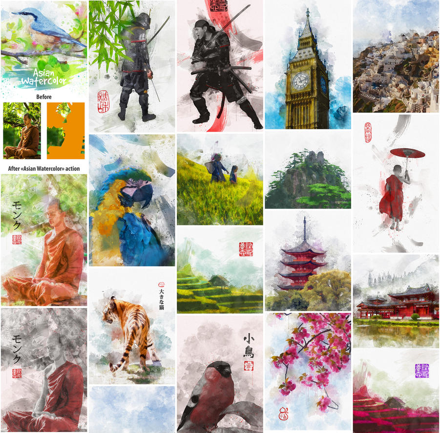 Asian Watercolor Photoshop Action by GraphicAssets