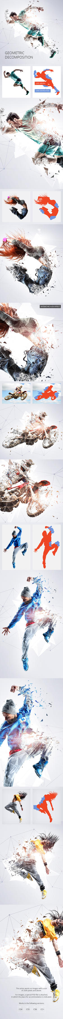Geometric Decomposition Photoshop Action by GraphicAssets