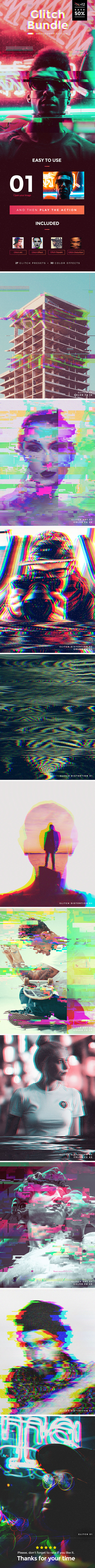 Glitch Bundle Photoshop Actions by GraphicAssets