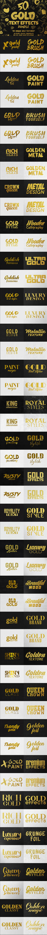 50 Gold Text Effects Bundle by GraphicAssets