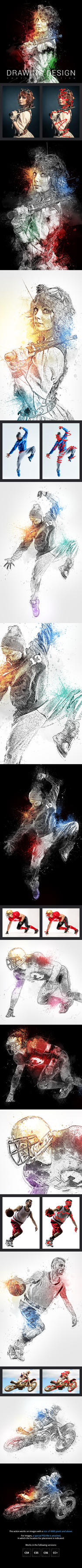 Drawing Design Photoshop Action by GraphicAssets