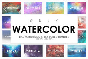 Only Watercolor Backgrounds Bundle by GraphicAssets