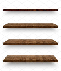 Wooden shelf template set isolated by GraphicAssets