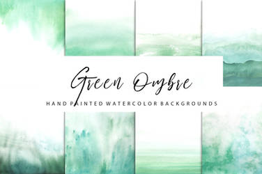 Green ombre watercolor by GraphicAssets