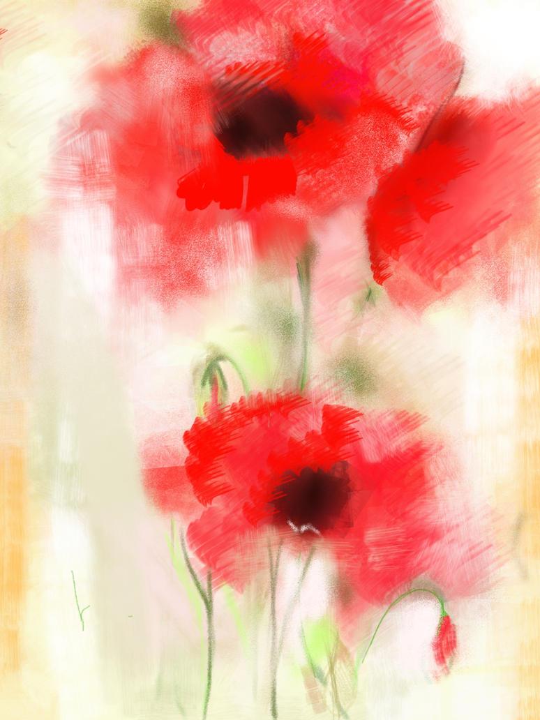 Wet poppy by tazjohn
