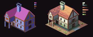 Pixel Art - Isometric House by AlbertoV
