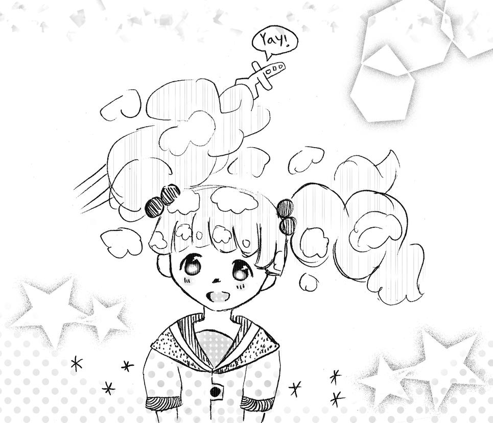 Cloud Hair (b/w version) by RainbowIcePop