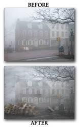 A foggy town