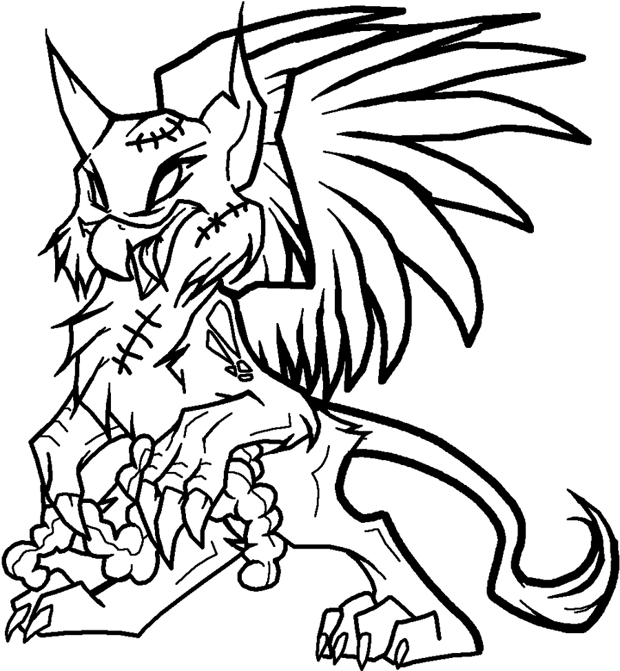 D Line Drawings Xbox : Zombie griffon lineart by xbox ds gameboy on deviantart