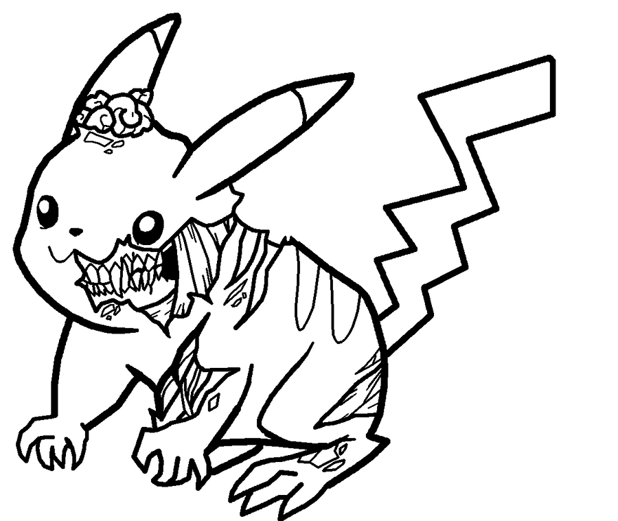 Line Drawing Of A Zombie : Zombie pikachu lineart by xbox ds gameboy on deviantart