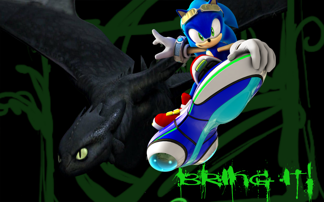 Sonic and Toothless Wallpaper by Xbox-DS-Gameboy