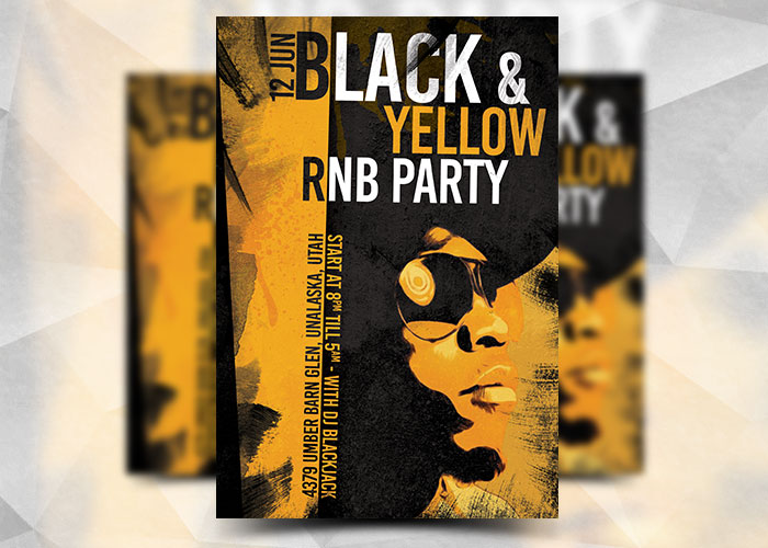 Black And Yellow Rnb Flyer Template By Flyermarket On Deviantart