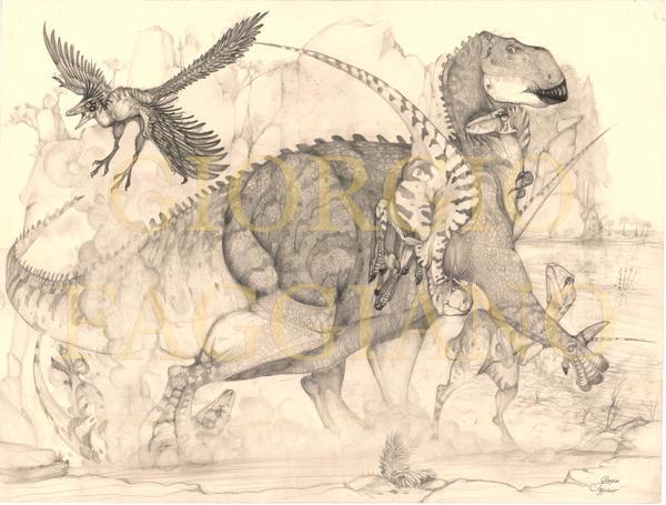 Iguanodon and Utahraptors by fagianotyrannus