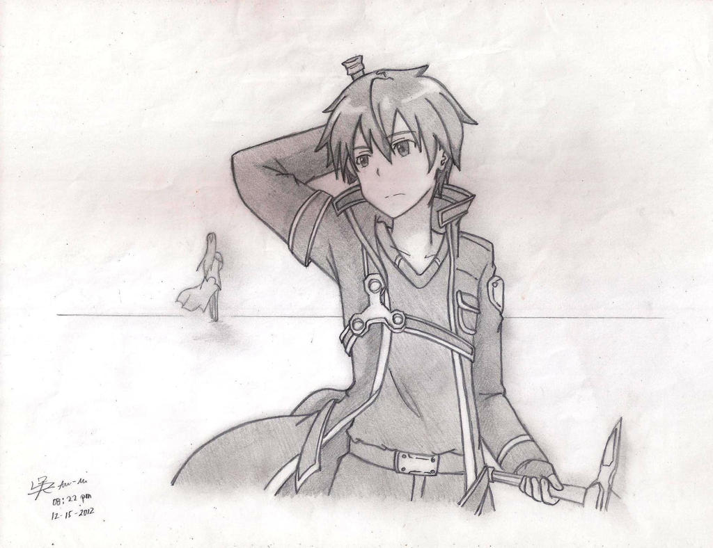 Sword art online kirito original sketch by kikutakashi for Sketch it online