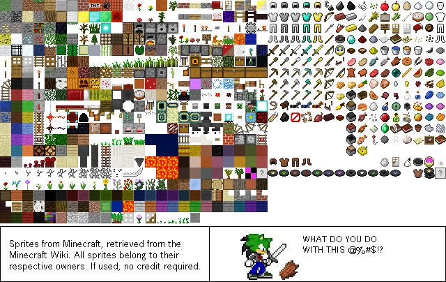 Minecraft Sprites Updated By Cyberthehedgehog270 On