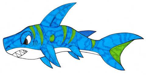 Green Striped Blue Shark by Genie-Dragon
