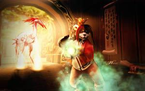 Misami Wallpaper - World of Warcraft by ginnypinnyart