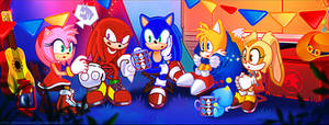 Sonic and Tails and Knuckles and Amy and Cream