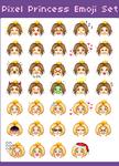 Pixel Princess Emoji Set by mouldyCat