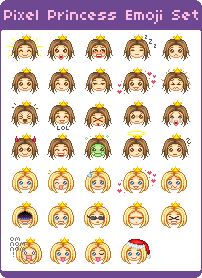 Pixel Princess Emoji Set by mouldyCat on DeviantArt