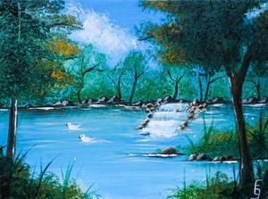 Lake - Second acrylic paint