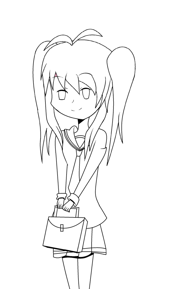 Anime School Girl Drawing (outline) By Sillyhw12 On DeviantArt