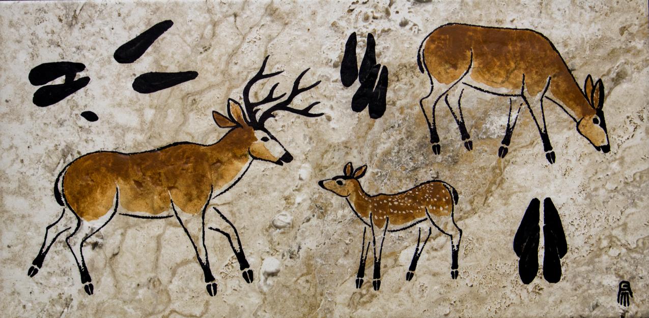 Prehistoric Style Mule Deer painting by RobertMeyer