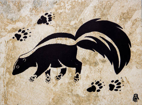 Prehistoric Style Striped Skunk painting