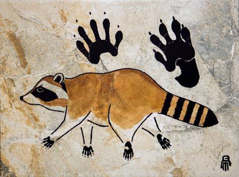 Prehistoric Style Raccoon painting