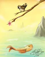SP: The Koi and Sparrow by luzhikari