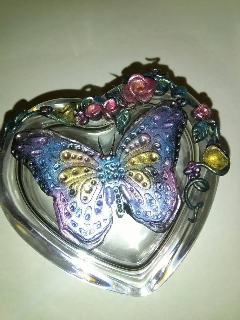 butterfly glass trinket box by creativitieskey
