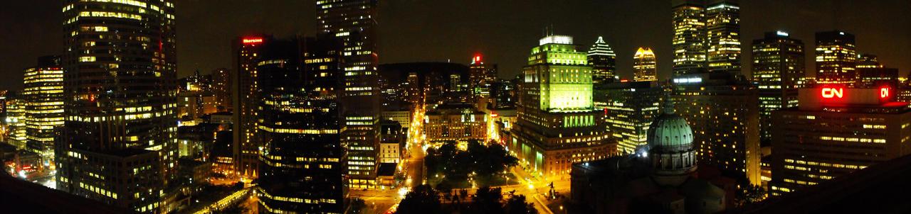 Montreal at night panorama