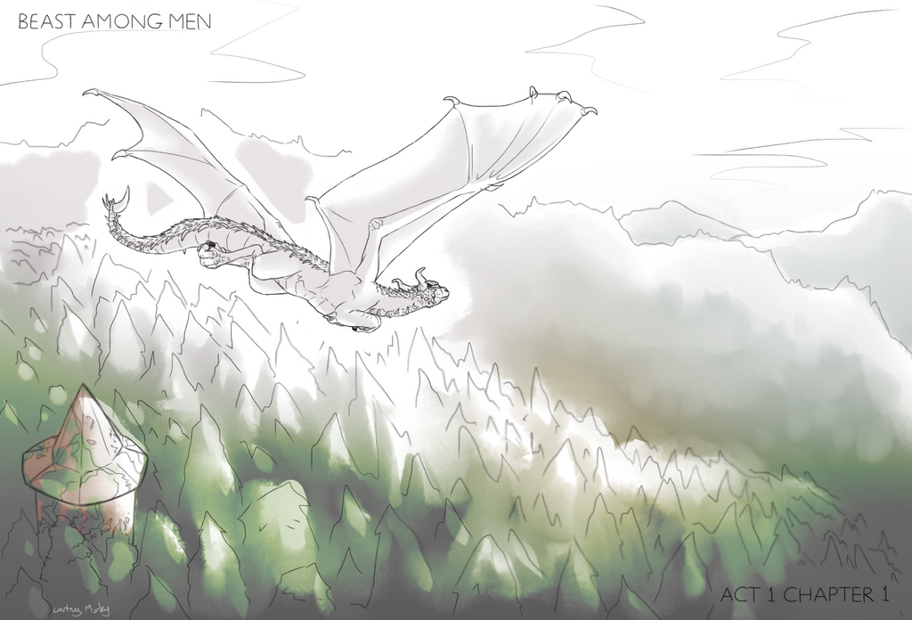 A blinding white dragon soars over the tops of a forestry of mountainsides. Only a lone tower can be seen in the expanse of trees below.