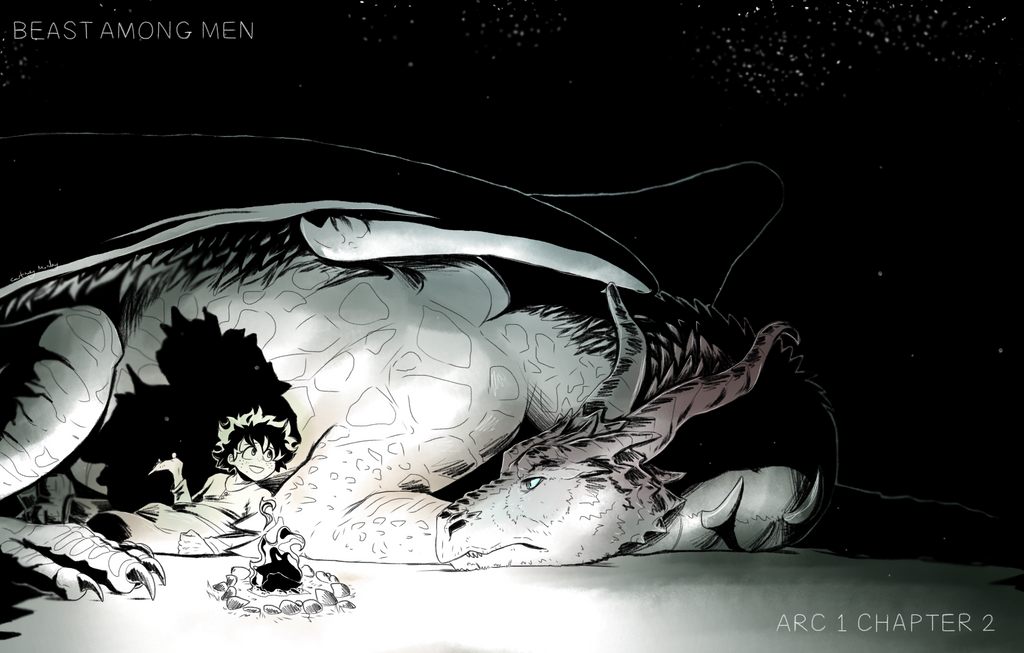 Midoriya talks amiably to Shou the dragon as he wedges in cofortably to rest by his stomach. The fire in front of them cast strong shadows into the darkness behind them.