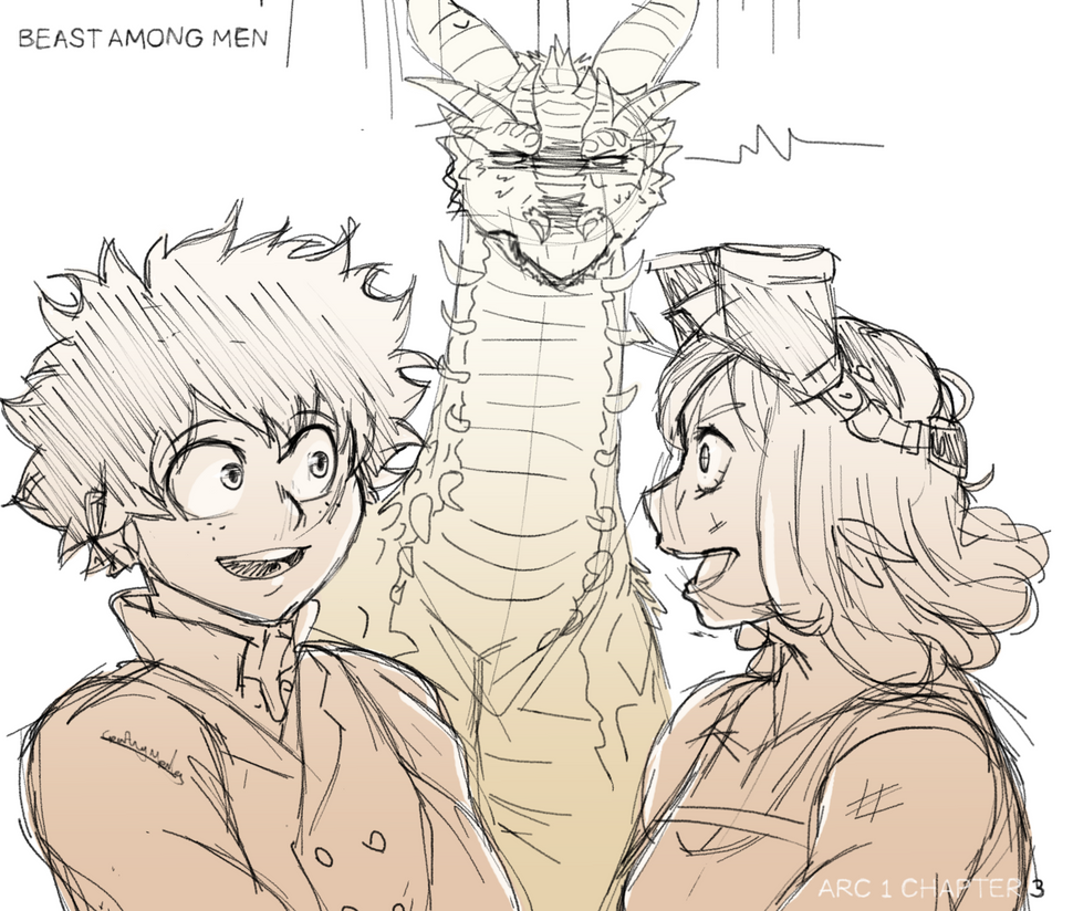 In the foreground Midoriya and Hatsume talk amiably. Behind them, Shou the dragon scowls in contempt at the sudden friendly atmosphere.