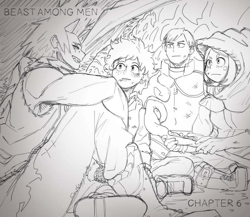 Kirishima - in human form, talks amiably to Midoriya, Iida, and Uraraka, who huddle close against Uraraka's lighted staff. In the background, Shou the dragon encases where they sit together, keeping them close.