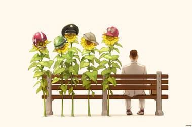 Sunflower Forrest by Hallpen