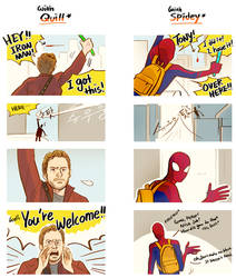 Tony with Quill n Spidey by Hallpen