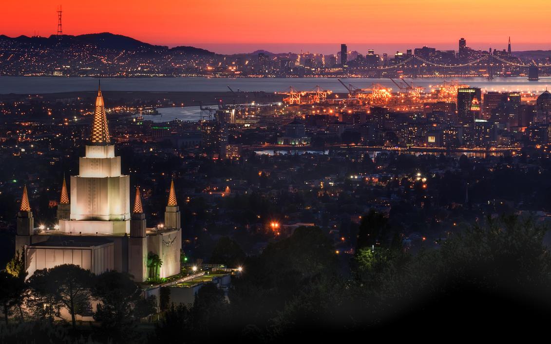 Oakland Temple at Sunset by MattGranzPhotography