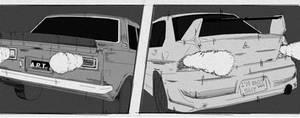 Breaking battle! Datsun 510 and Mitsubishi Lan Evo