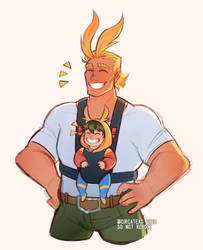 [BNHA] dad series #1 - Allmight and Izuku by t-eas