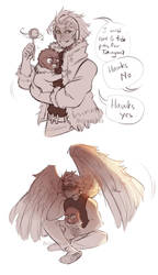 [BNHA] dad series #3 - Hawks and Tokoyami by t-eas