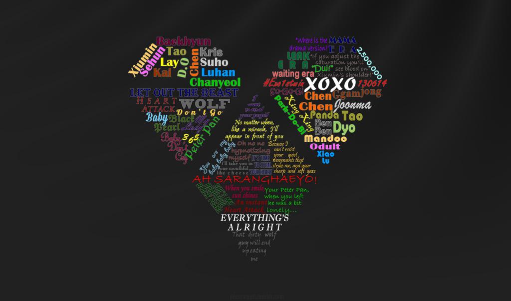 exo xoxo typography by tayatsu on deviantart