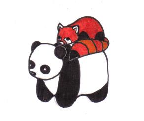 Panda Friends by corvidophiliac